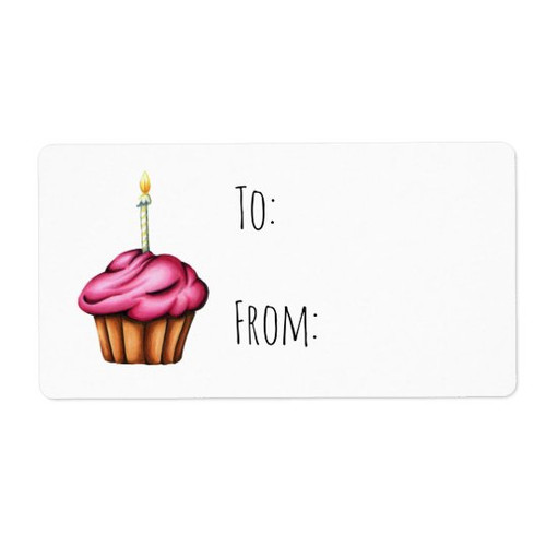 To and From Pink Cupcake with Candle Birthday Gift label