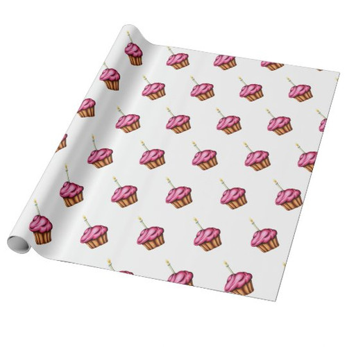 Wrapping paper with pink cupcakes for birthdays