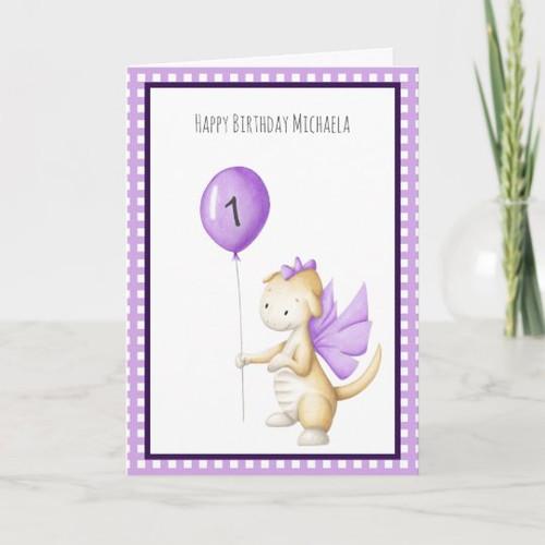 Cute Purple Dragon with Balloon First Birthday Card