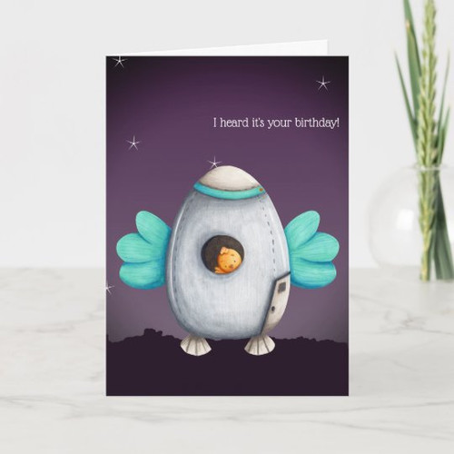 Alien Space Ship with Bird Personalized Birthday Card