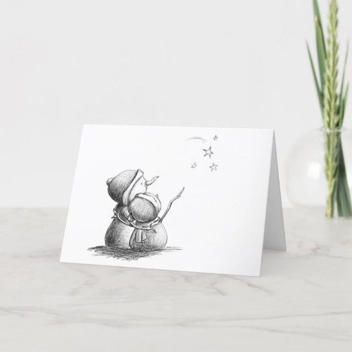 Black and white blank Christmas card