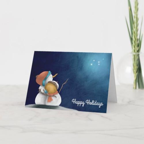 Starry night snowmen couple illustrated Christmas Card