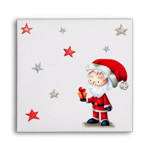 Santa Claus with gift and stars unique CD sleeve envelope