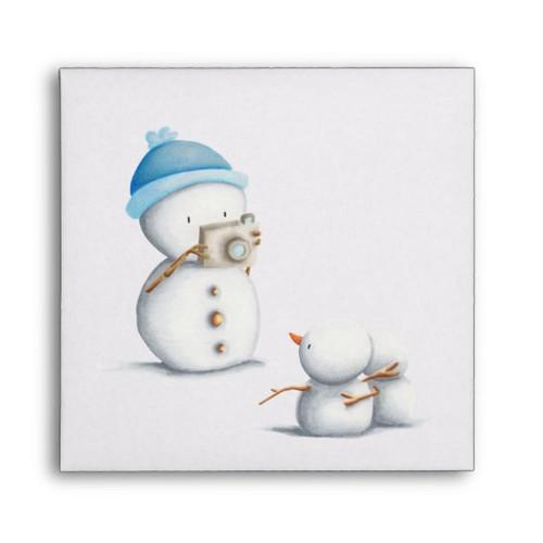 Snowman taking photos winter CD sleeve envelope