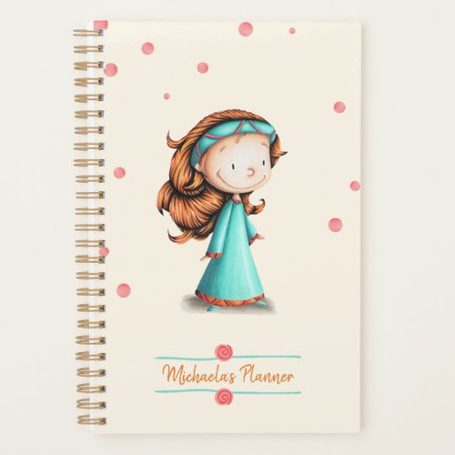 Red Hair Girl Cream and Teal Personalized Planner