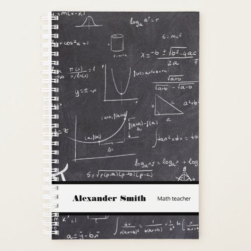 Personalized math teacher black with equations Planner