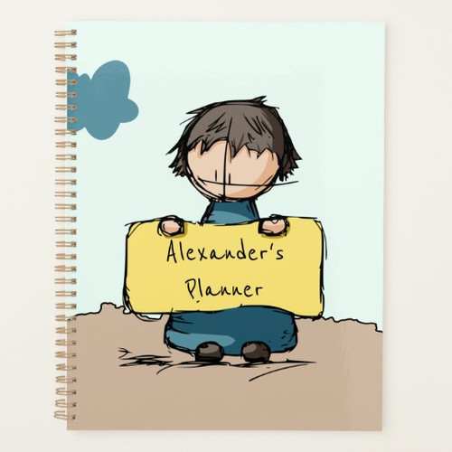 Cute Sketch Boy with a Sign Personalized Kid's Planner