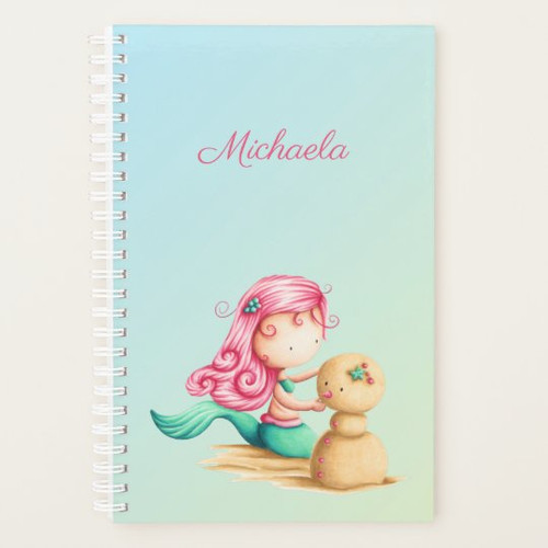 Unique Mermaid with pink hair and sandman Planner