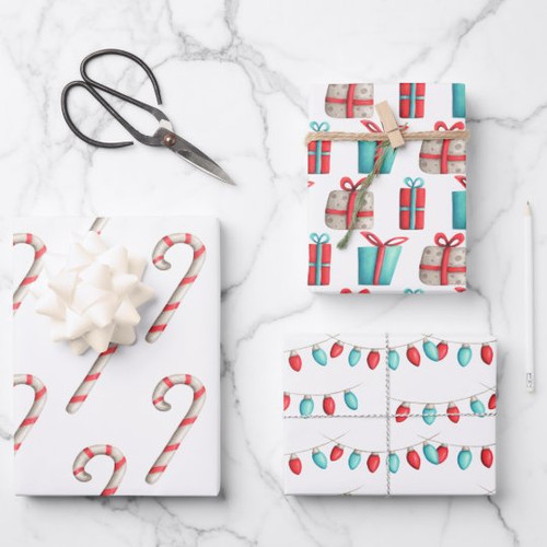 Candy Canes, Presents and Christmas Lights Holiday Wrapping Paper Sheets