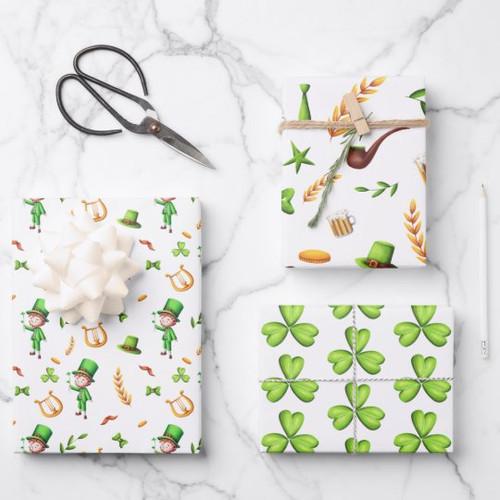Cute St Patrick's Day Leprechaun Irish Themed Wrapping Paper Sheets