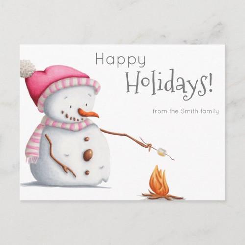 Cute Snowman Roasting Marshmallows Family Holiday Postcard