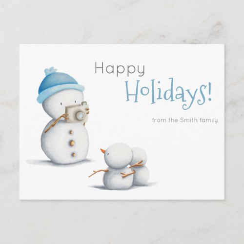 Cute Snowman Taking Photos to Kids Holiday Custom Postcard