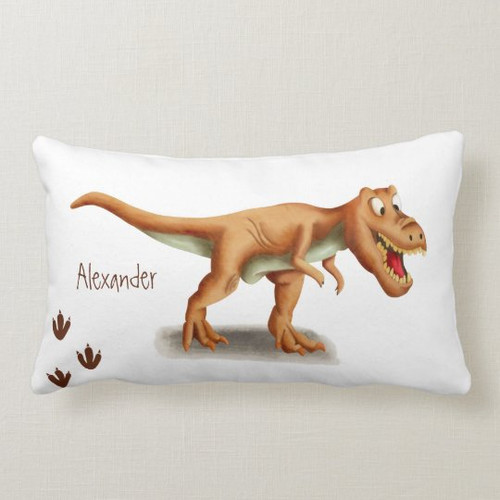 T-rex and prints illustrated personalized Lumbar Pillow