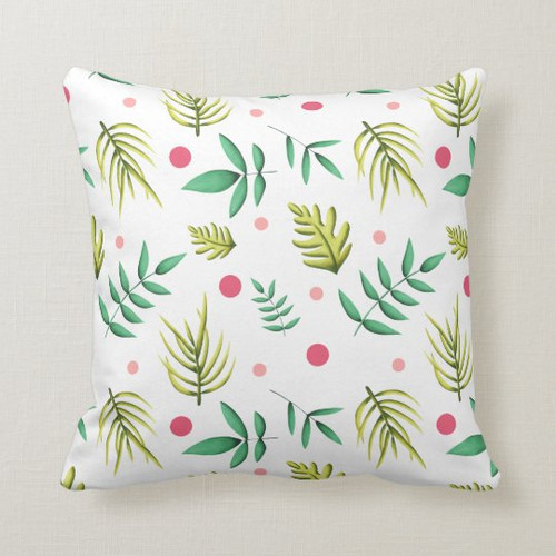 Tropical Floral Green and Pink Summer Throw Pillow