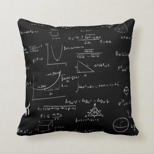 Black and White Mathematics Formulas and Graphics Throw Pillow