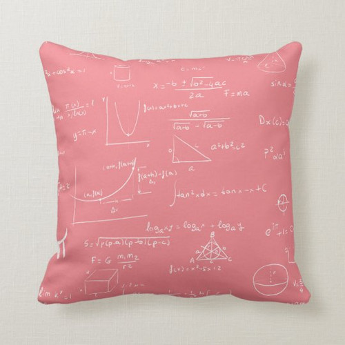 Pink and White Mathematics Formulas and Graphics Throw Pillow