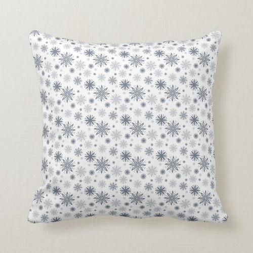 Elegant Grey Floral Patterned Holiday Throw Pillow