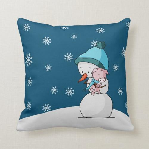 Blue Winter Snowman Hugging a Pig Christmas Throw Pillow