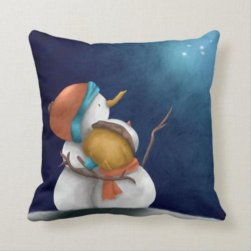 Night sky Snowmen looking at the stars Throw Pillow