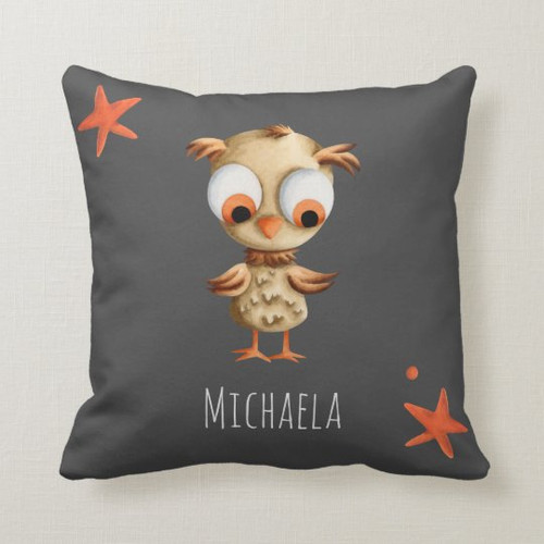 Cute Brown Owl Personalized Grey Nursery Throw Pillow