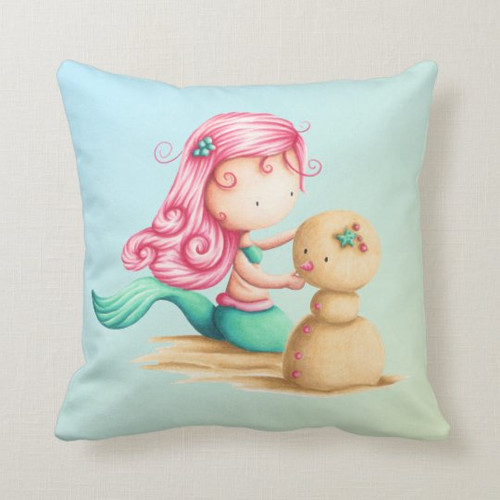 Cute Mermaid with pink hair playing with the sand Throw Pillow