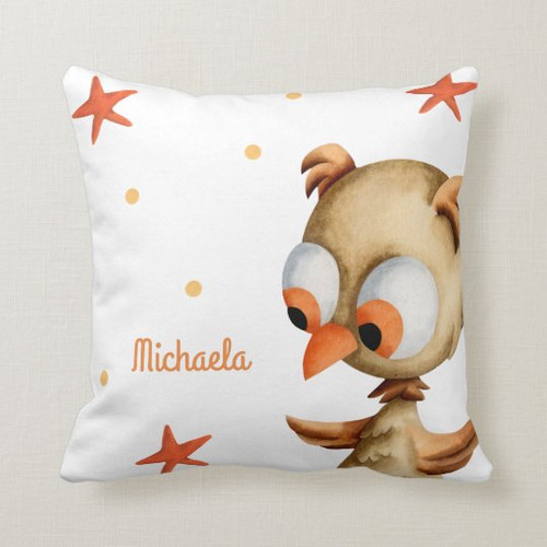 Personalized white and orange with brown owl Throw Pillow