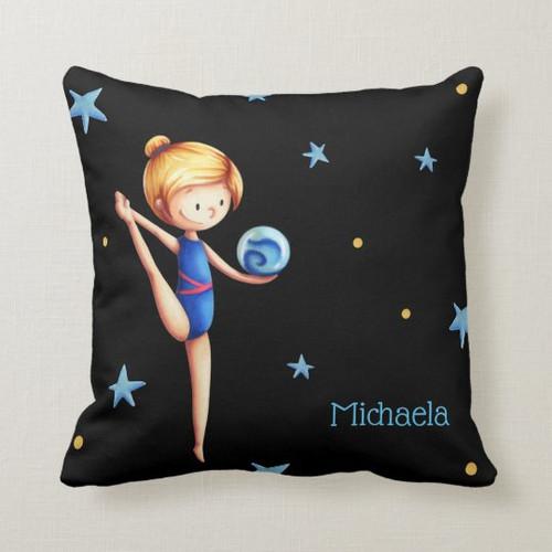 Rhythmic Gymnast and ball customThrow Pillow