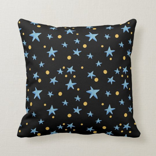 Blue and black stars pattern throw pillow