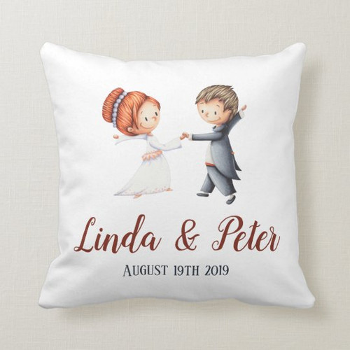 Wedding anniversary with bride and groom dancing throw pillow