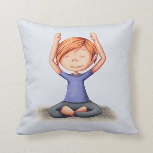 Cute Red Hair Girl Doing Yoga on Floor Throw Pillow