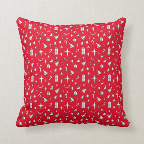 Red and White Holiday Christmas pattern Throw Pillow