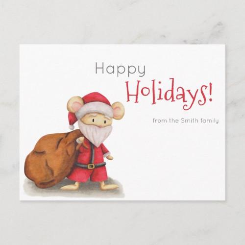 Happy Holidays Mouse Santa Claus Family Custom Postcard