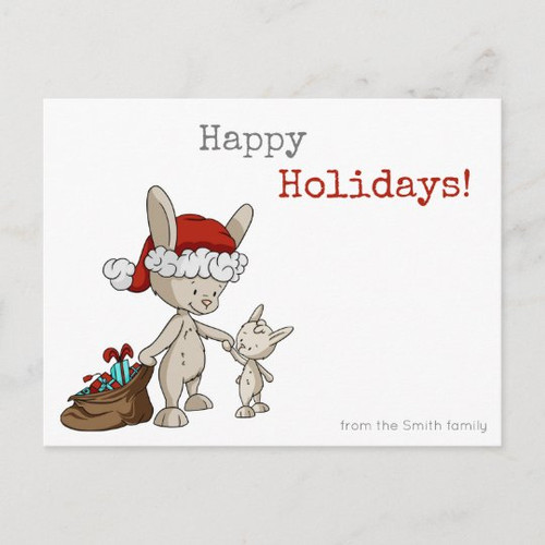 Santa Claus Bunny with Presents Family Holiday Postcard