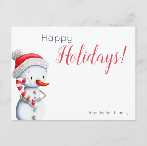 Happy Holidays Snowman with Candy Cane Personalize Postcard