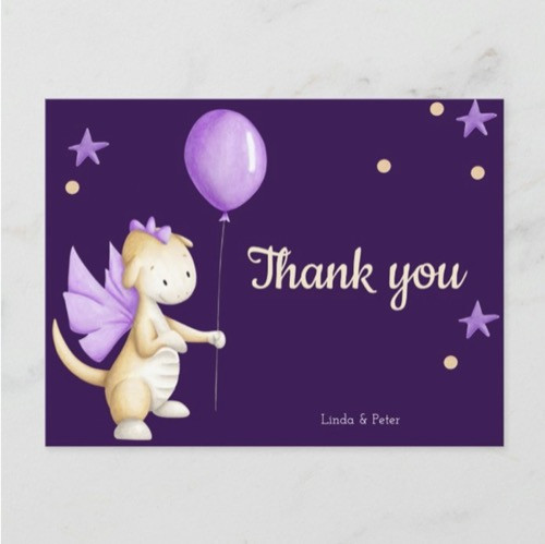 Purple Baby Dragon Thank You Girl Baby Shower Postcard