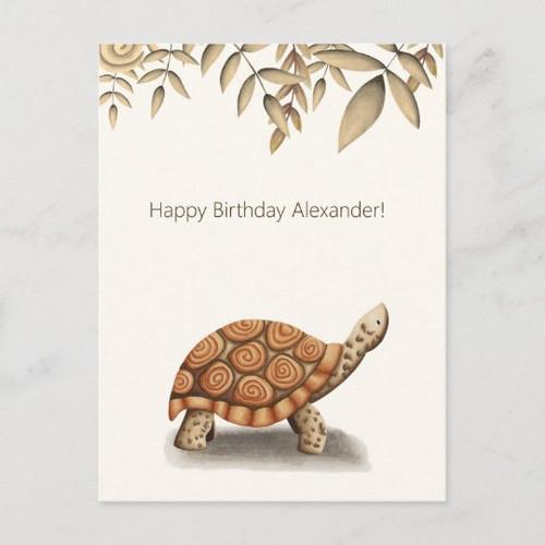 Cute Tortoise Brown Personalized Birthday Postcard