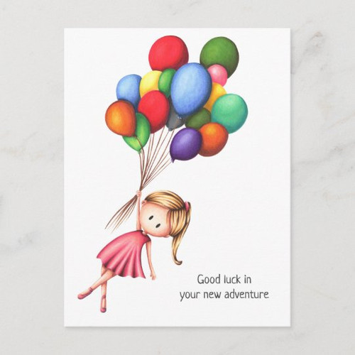 Farewell Girl with Colorful Balloons Personalized Postcard