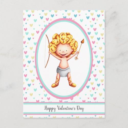 Cute Cupid Pastel Hearts Happy Valentine's Day Postcard