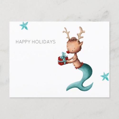 Minimalist Happy Holidays with Reindeer Mermaid Holiday Postcard