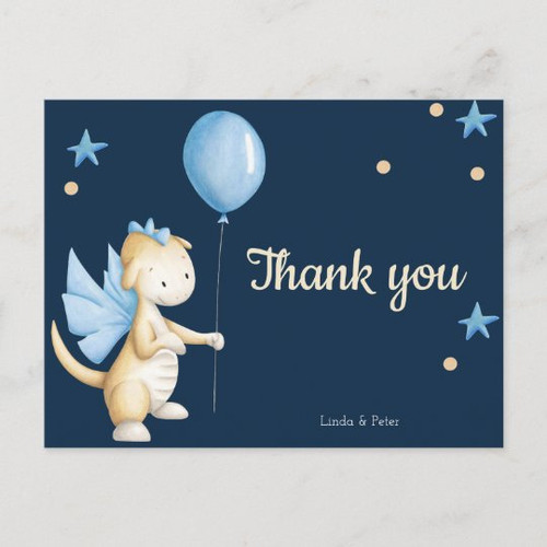 Navy Blue Baby Dragon Thank You Baby Shower Postcard