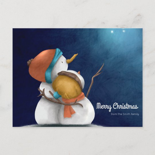 Merry Christmas Starry night with Snowmen hugging Postcard
