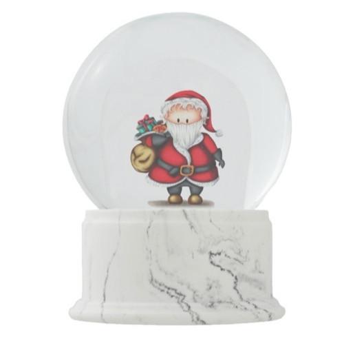 Santa Claus with Presents Illustration Christmas Snow Globe