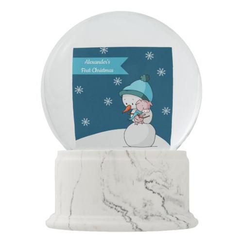 Snowman with Pig First Christmas Nursery Decor Snow Globe