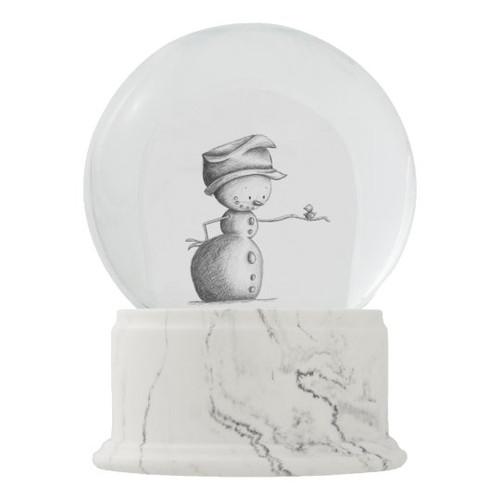 Pencil Drawing Snowman with Bird Christmas Décor Snow Globe