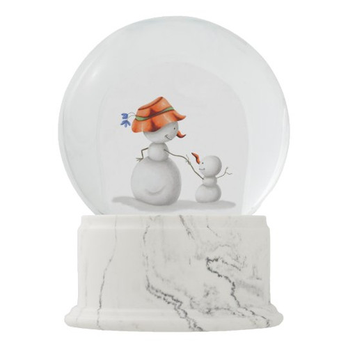 Grandmother and Grandson Snowman Holding Hands Snow Globe