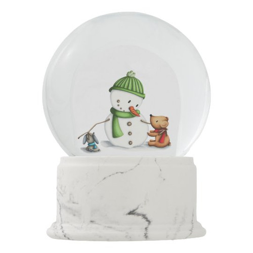 Snowman with Bear and Dog Winter Decoration Snow Globe