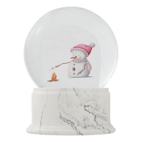 Winter Snowman With Pink Hat Roasting Marshmallows Snow Globe