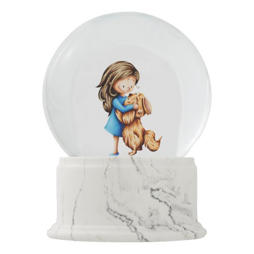 Girl with Puppy Jumping Adorable Dog Lover Snow Globe