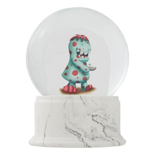Red and Turquoise Alien Space Monster Snow Globe