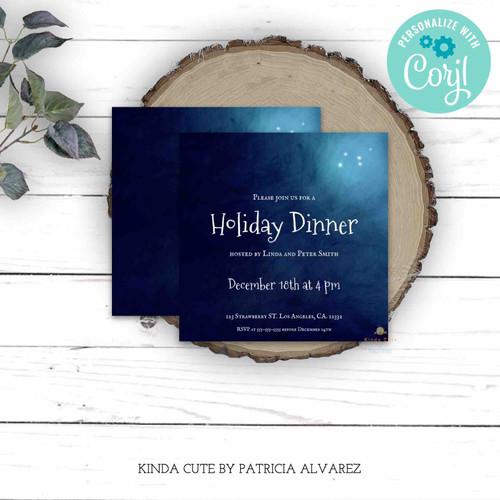 Editable Christmas Night Holiday Dinner Invitation